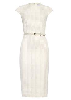 Max Mara Leandro Pinstripe Linen & Silk Midi Sheath Dress