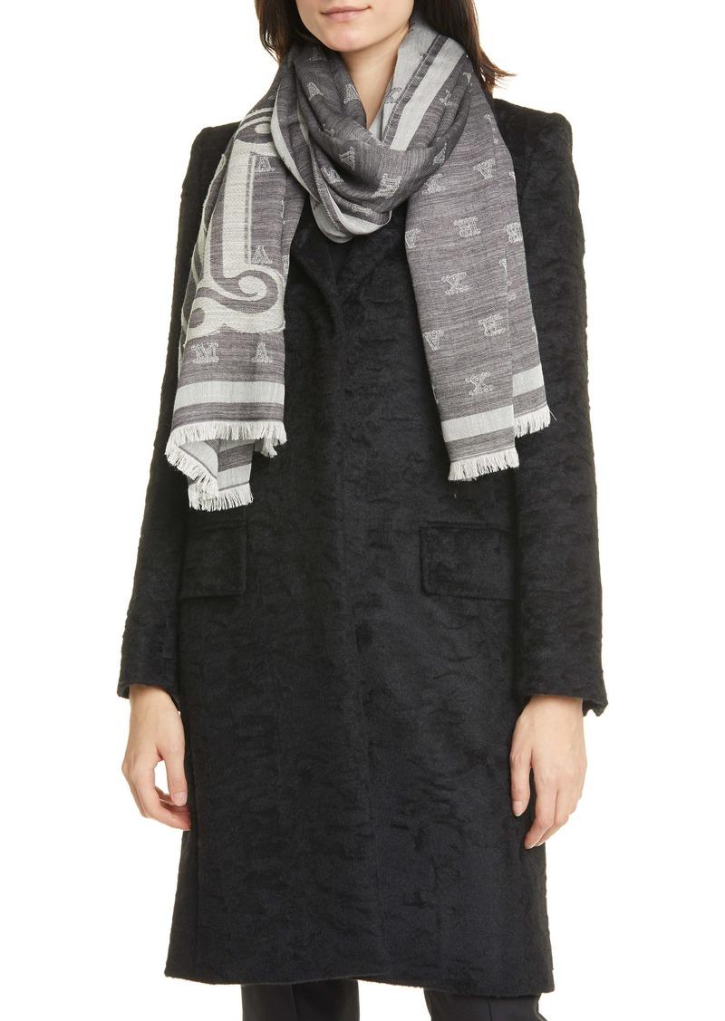 Max Mara Liuto2 Monogram Jacquard Wool & Silk Scarf