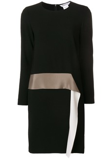 Max Mara long sleeved satin ruffle dress - Black