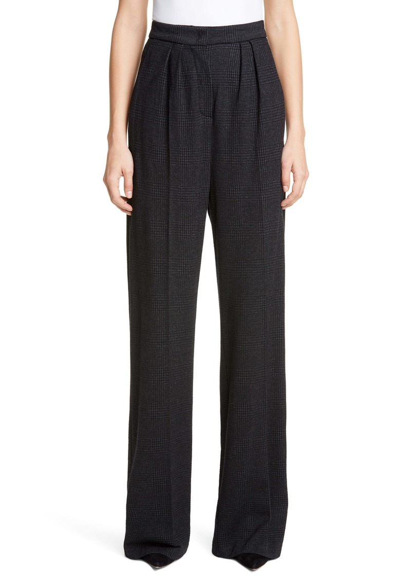 Max Mara Luana Plaid High Waist Wide Leg Pants