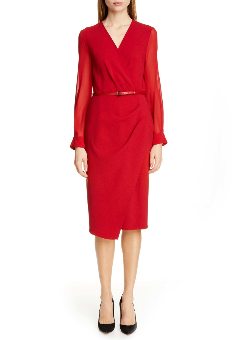 Max Mara Manuel Long Sleeve Faux Wrap Dress