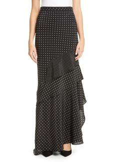 Max Mara Navata Polka Dot & Floral Silk Crêpe de Chine Maxi Skirt