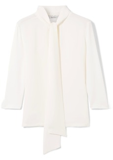 Max Mara Pussy-bow stretch-knit and silk-crepe blouse