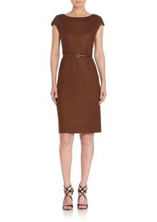 Max Mara Rabbino Short Sleeve Belted Dress