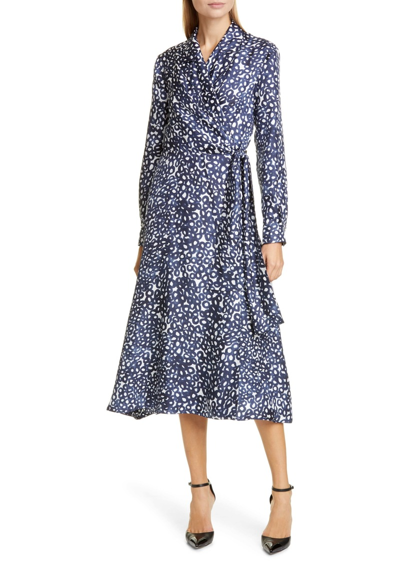 Max Mara Ravel Silk Crêpe de Chine Long Sleeve Wrap Dress