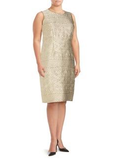 Max Mara Roundneck Geometric-Motif Sheath Dress