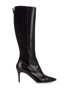 Max Mara Snakeskin and leather knee-length boots