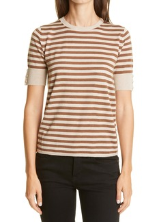 Max Mara Stagno Stripe Silk & Cashmere Sweater T-Shirt