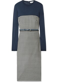 Max Mara Stretch-jersey And Gingham Wool-blend Dress