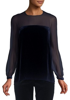 Max Mara Studio Alfeo Sheer Long-Sleeve Velvet Top