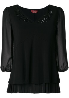 Max Mara Studio embellished V-neck blouse - Black