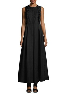 Max Mara Studio Pleated Cotton Maxi Dress