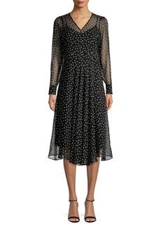 Max Mara Studio Printed Silk A-Line Dress