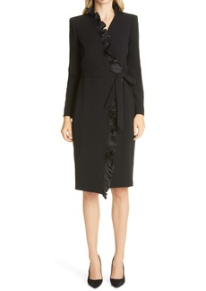Max Mara Suez Long Sleeve Ruffle Trim Wrap Dress