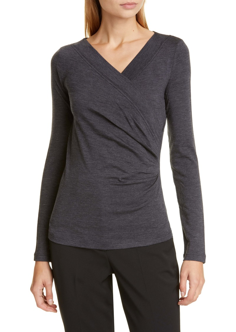Max Mara Tamaro Stretch Wool Faux Wrap Top