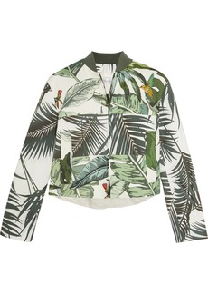 Max Mara Tema printed linen and cotton-blend bomber jacket