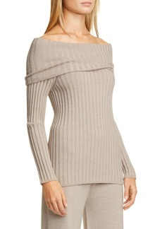 Max Mara Leisure Tosca Off the Shoulder Ribbed Virgin Wool Sweater