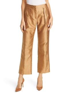 Max Mara Venere Crop Silk Blend Shantung Trousers