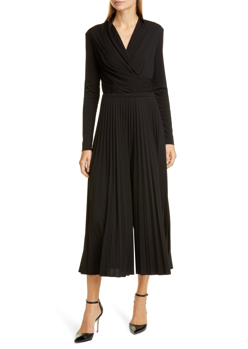 Max Mara Vieste Long Sleeve Pleated Wide Leg Jersey Jumpsuit