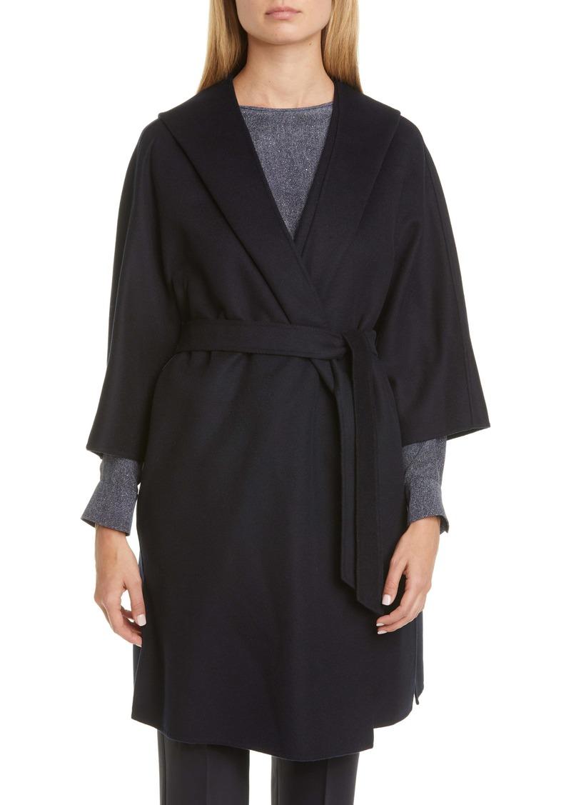 Max Mara Vik Hooded Wool Blend Wrap Coat