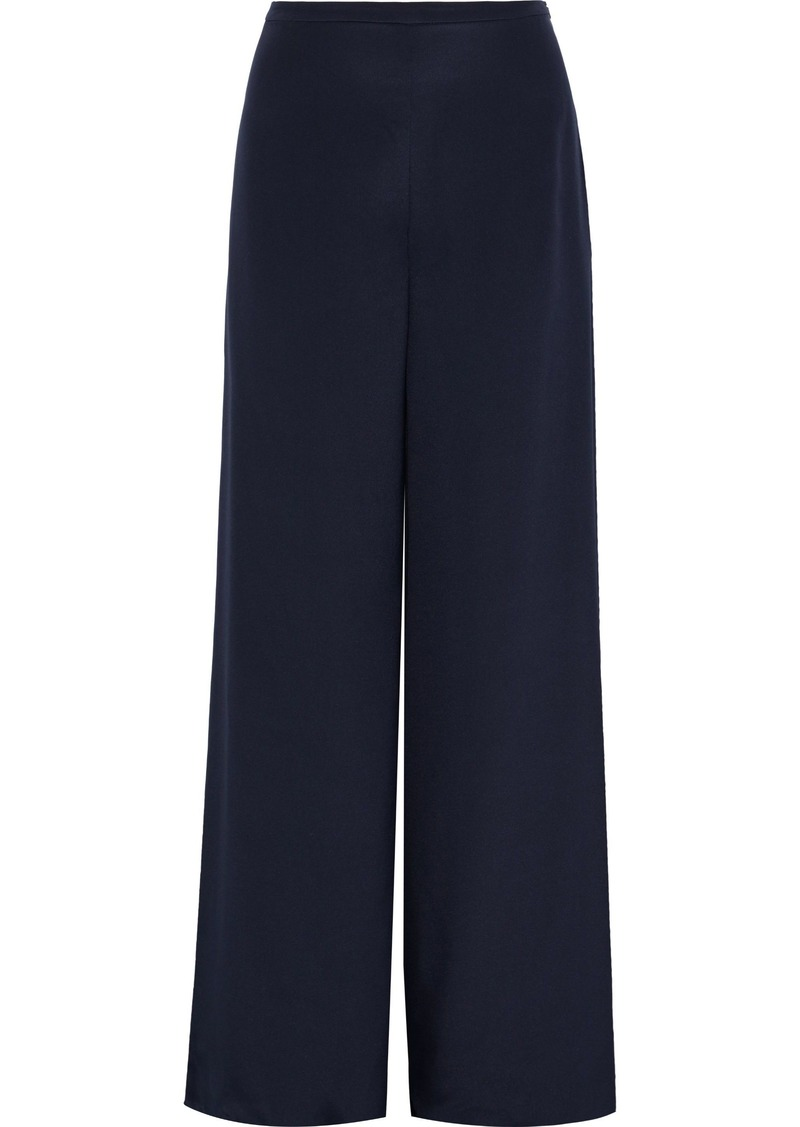 Max Mara Woman Affetto Washed-silk Wide-leg Pants Midnight Blue