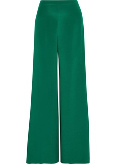 Max Mara Woman Affetto Washed-silk Wide-leg Pants Forest Green