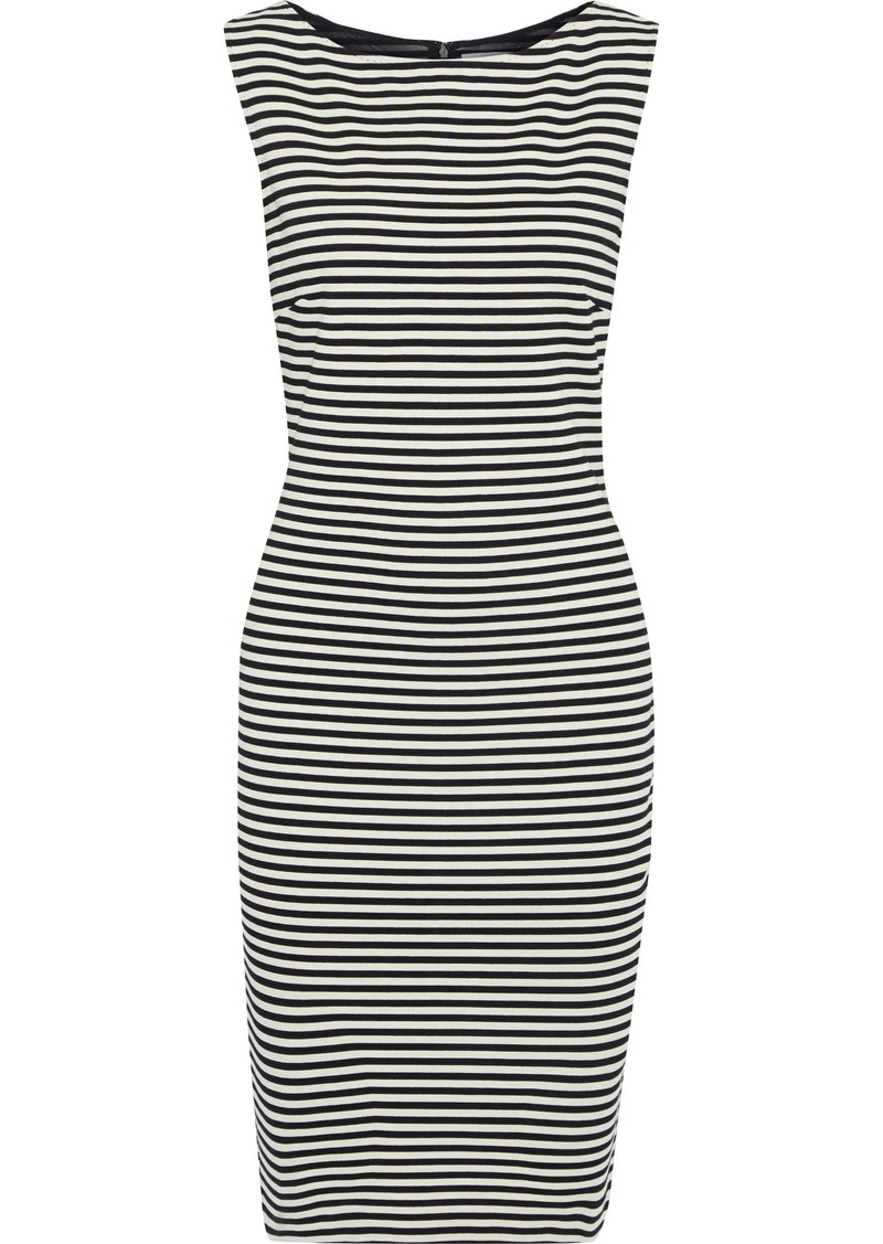 Max Mara Woman Afro Striped Stretch-jersey Dress Black