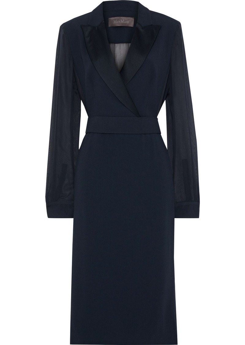 Max Mara Woman Aladino Satin-trimmed Chiffon-paneled Crepe Dress Navy