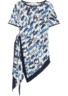 Max Mara Woman Aldo Asymmetric Printed Silk Crepe De Chine Top White