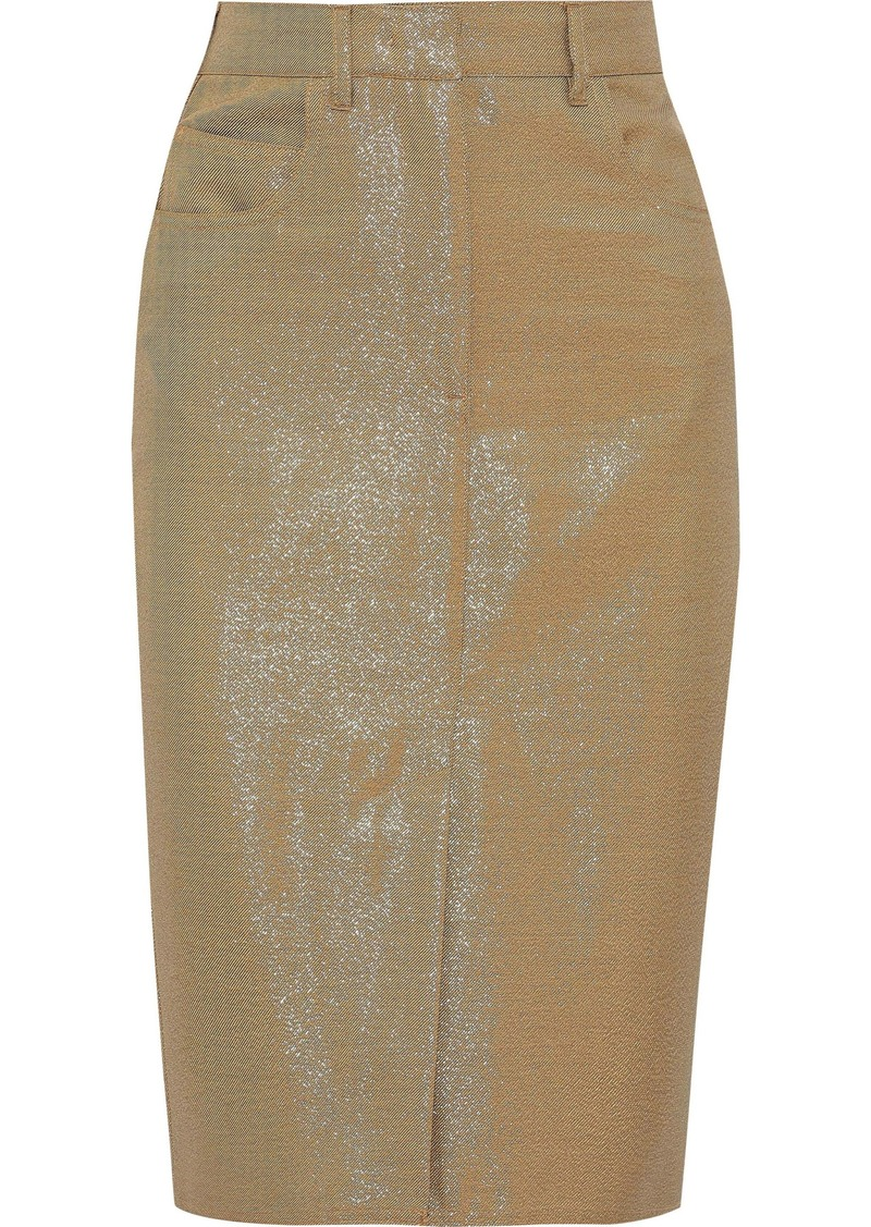 Max Mara Woman Amico Metallic Wool-blend Twill Pencil Skirt Gold