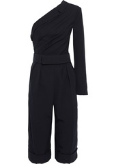 Max Mara Woman Amleto Cropped One-shoulder Wool-twill Jumpsuit Midnight Blue