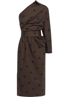 Max Mara Woman Angolo One-shoulder Polka-dot Cotton-poplin Midi Dress Forest Green