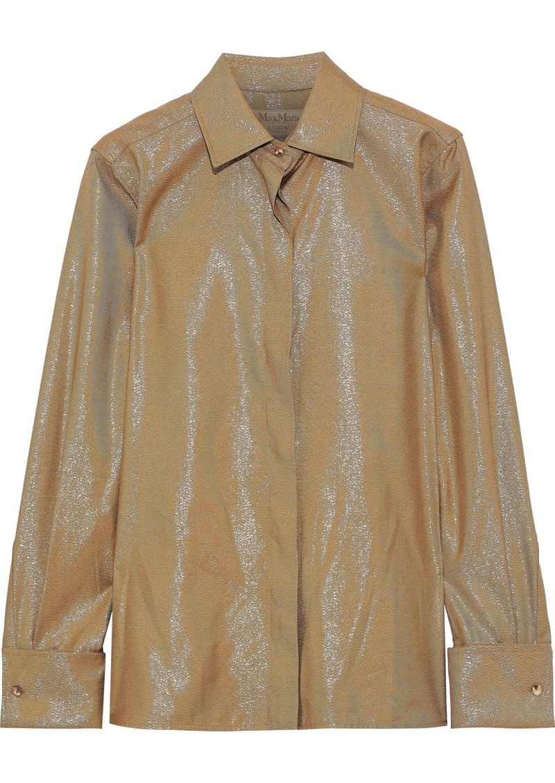 Max Mara Woman Anima Metallic Twill Shirt Gold