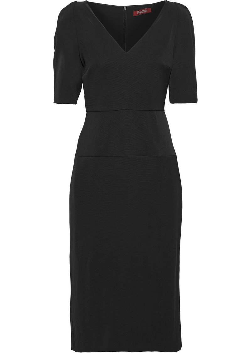 Max Mara Woman Arrigo Wool-faille Midi Dress Black