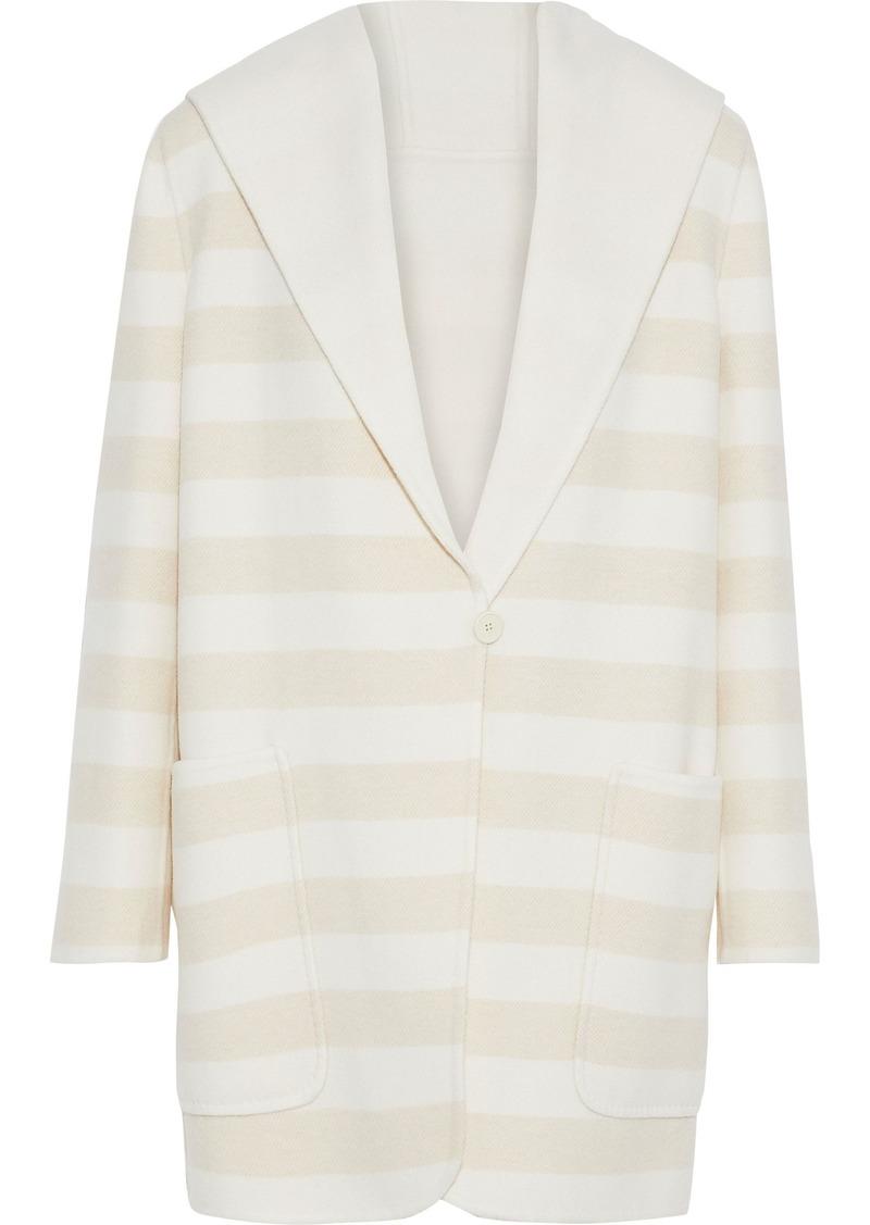 Max Mara Woman Arte Reversible Striped Wool And Cashmere-blend Hooded Coat Ecru