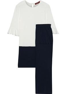 Max Mara Woman Astoria Two-tone Crepe Top And Pants Set Ivory