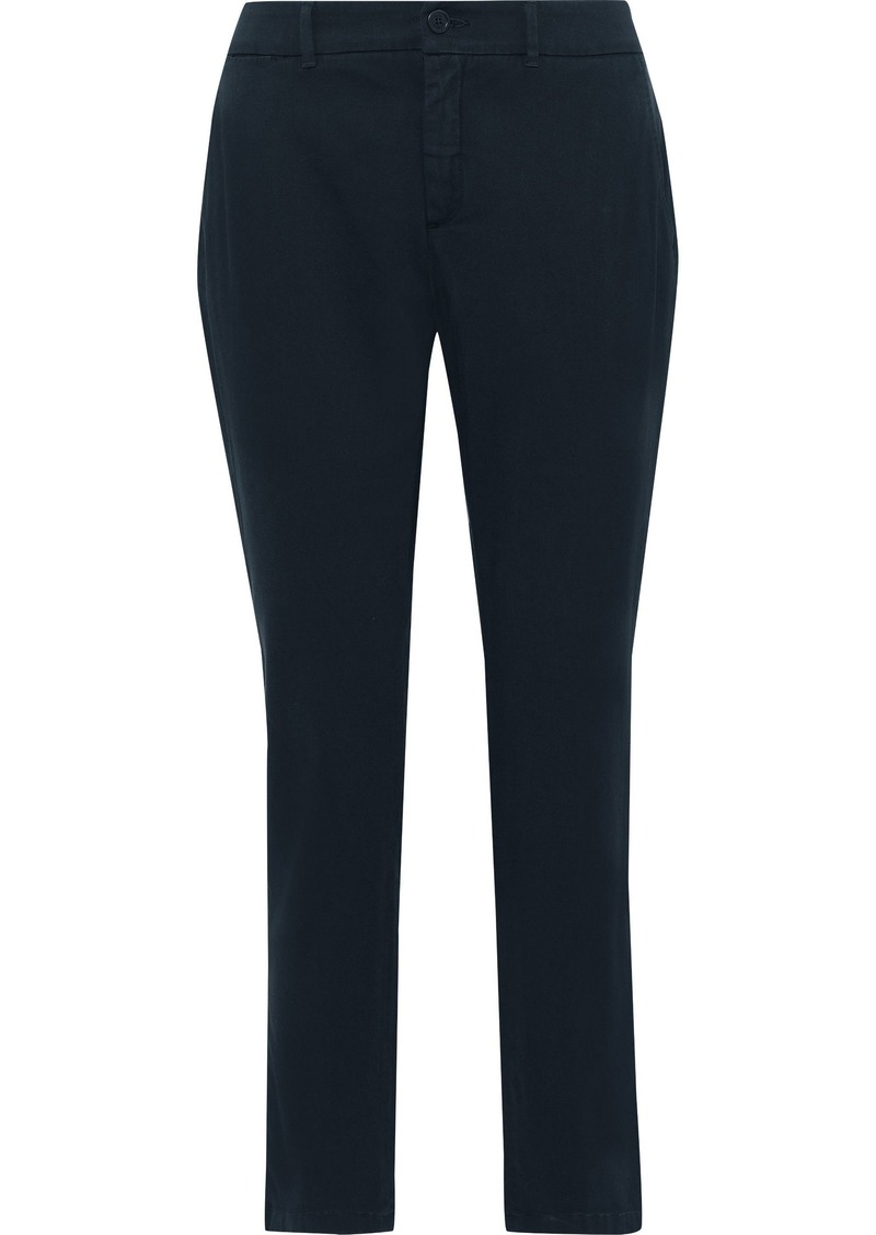 Max Mara Woman Audrey Cotton-blend Slim-leg Pants Navy