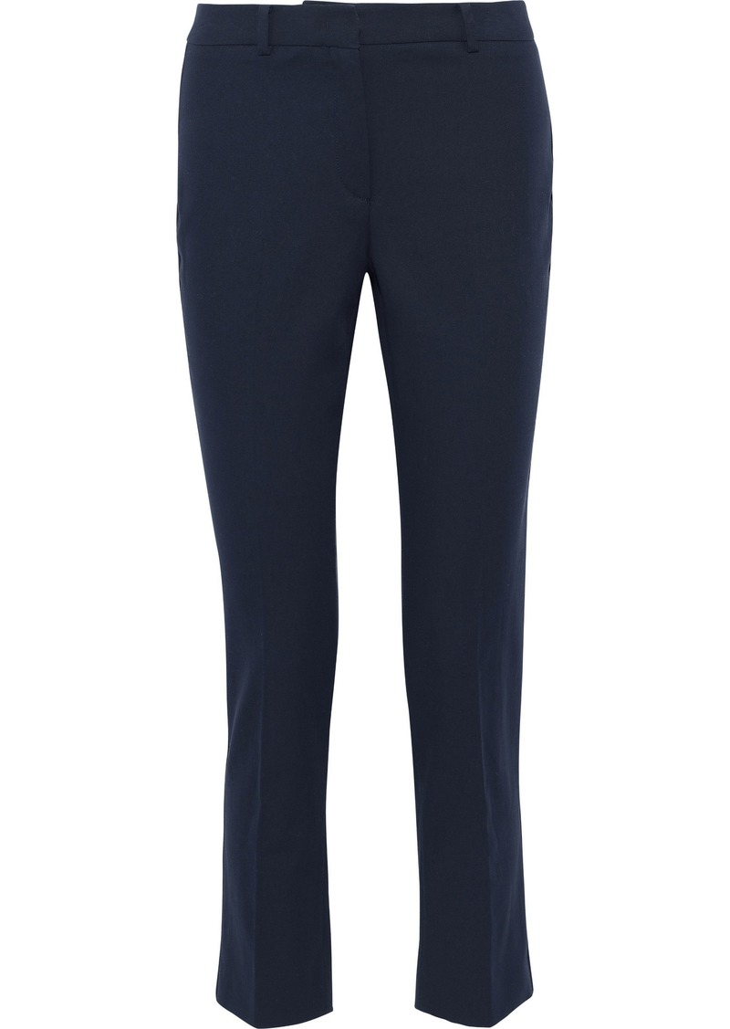 Max Mara Woman Augusta Cotton-blend Slim-leg Pants Navy