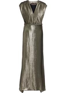 Max Mara Woman Bacio Belted Paneled Plissé-lamé Gown Gold
