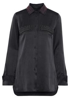 Max Mara Woman Basilea Bead-embellished Silk-satin Shirt Anthracite