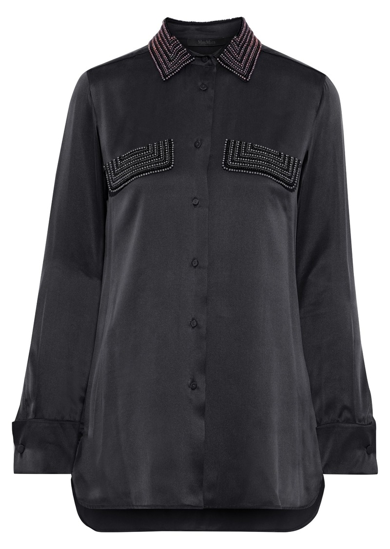 Max Mara Woman Basilea Bead-embellished Silk-satin Shirt Anthracite