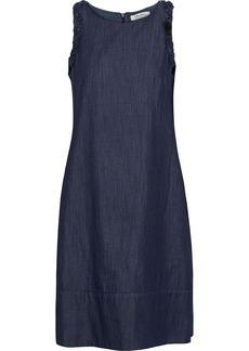 Max Mara Woman Bead-embellished Ruffle-trimmed Denim Dress Dark Denim