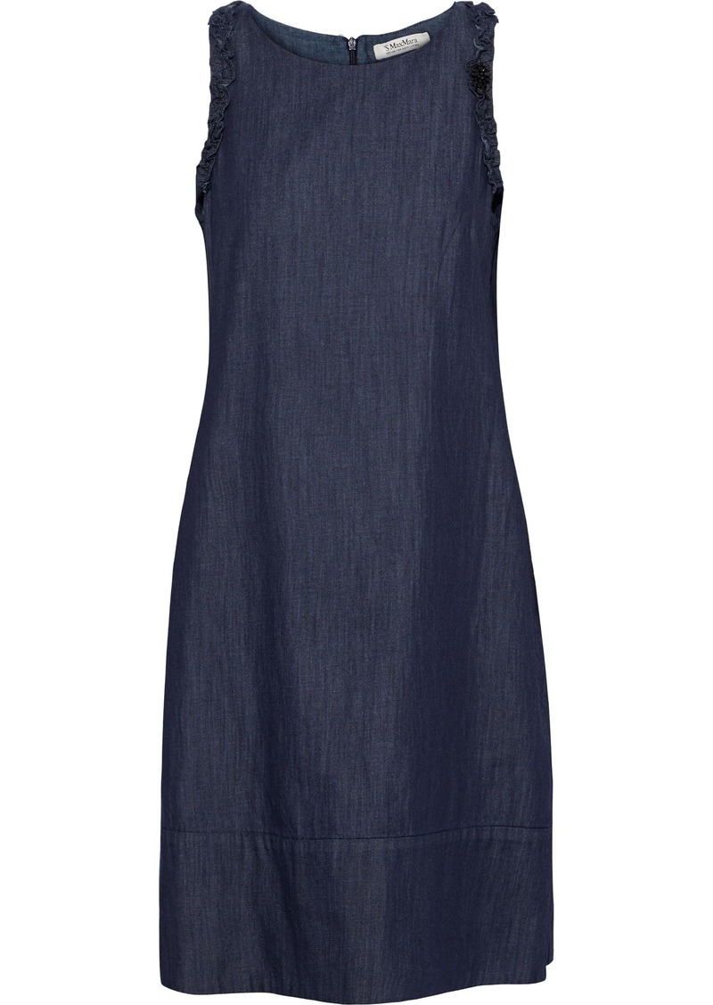 Max Mara Woman Bead-embellished Ruffle-trimmed Denim Dress Dark Denim