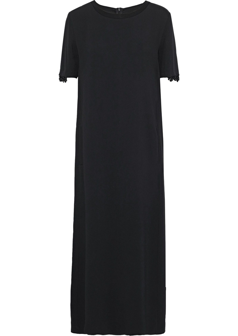 Max Mara Woman Bead-embellished Stretch-crepe Midi Dress Black