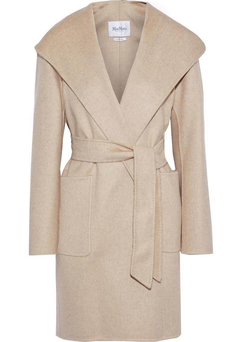 Max Mara Woman Belted Cashmere-felt Hooded Coat Cream