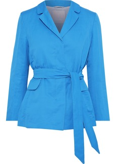 Max Mara Woman Belted Cotton And Ramie-blend Jacket Blue