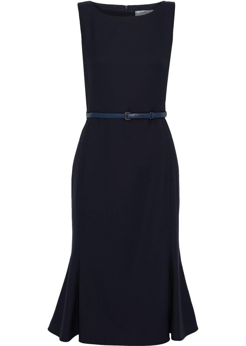 Max Mara Woman Fazio Belted Fluted Wool-blend Dress Midnight Blue