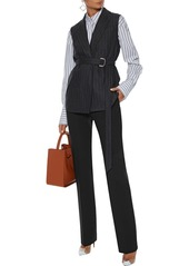 Max Mara Woman Belted Pinstriped Wool-blend Vest Anthracite