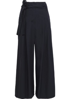 Max Mara Woman Belted Pleated Cotton-poplin Wide-leg Pants Navy