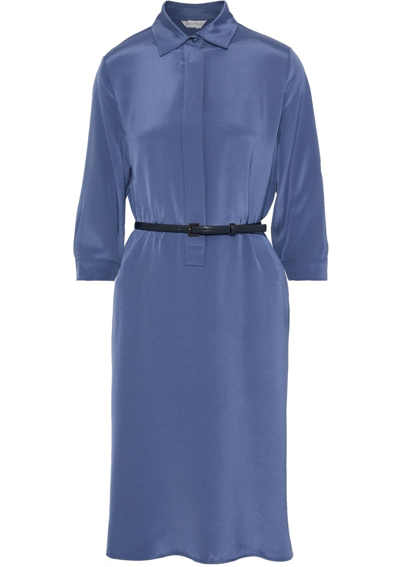 Max Mara Woman Belted Washed-silk Shirt Dress Storm Blue